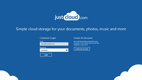 JustCloud Main Screen
