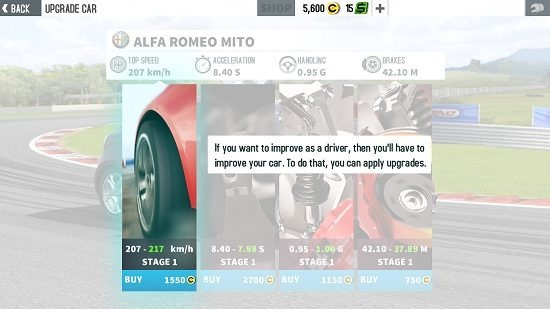GT Racing 2 vehice upgrades