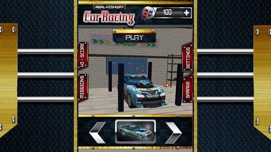Real Highway Car Racing Main Screen