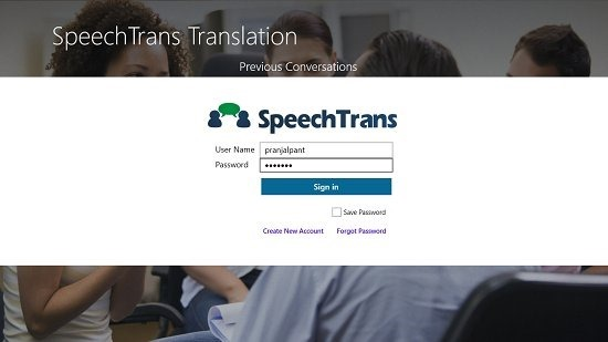 SpeechTrans Translator Main Screen