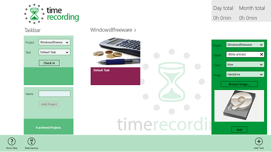 Timerecording adding a task to a project