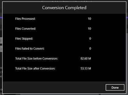Batch Music Converter Stats, Space Saved
