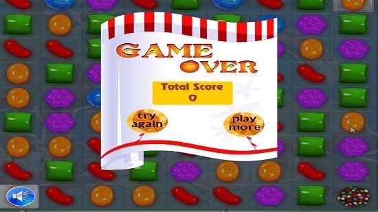 Candy Crush Saga Deluxe game over screen