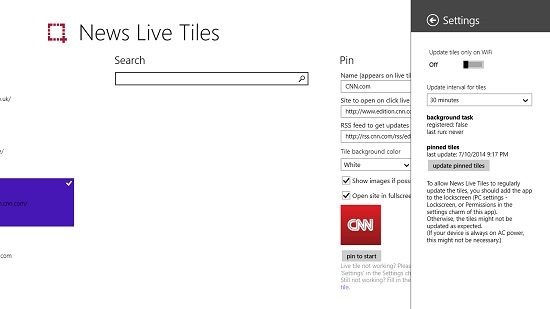 News Live Tiles Settings Charm