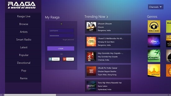 Raaga Main Screen