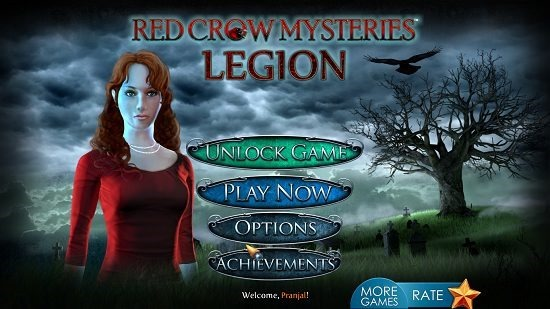 Red Crow Mysteries Legion main menu