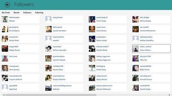 Metrogram Plus followers tab