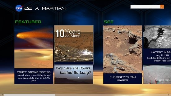 NASA Be A Martian Main Screen