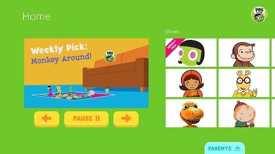 PBS Kids Video main screen