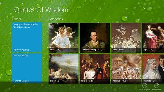 Quotes of Wisdom Main Screen