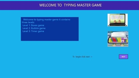 TYPING MASTER Main screen