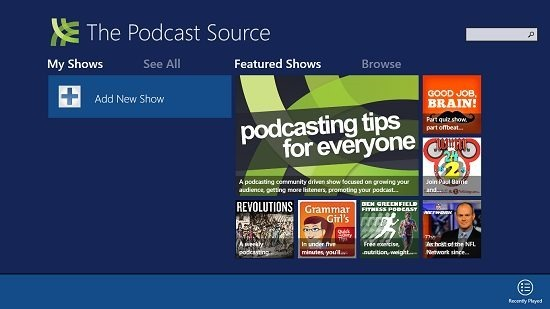 The Podcast Source Main Screen