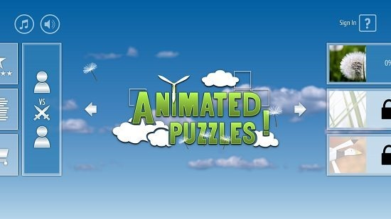 Animated Puzzles main screen