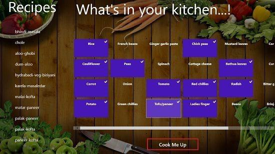 Cook Me Up select ingredients