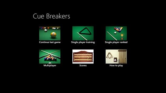 Cue Breakers Main Screen