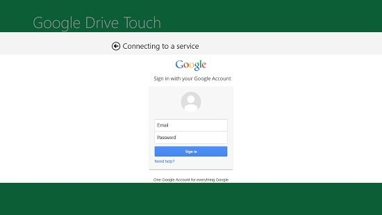 Google Drive Touch main screen