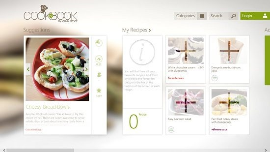 SO COOKBOOK Main screen