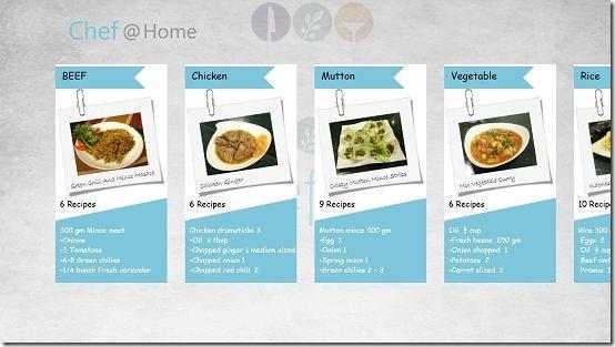 Chef@Home main screen