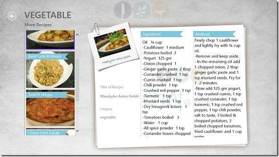 Chef@Home recipe selection left pane