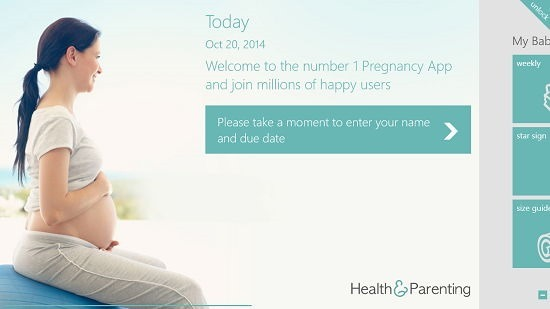 Pregnancy Plus main screen