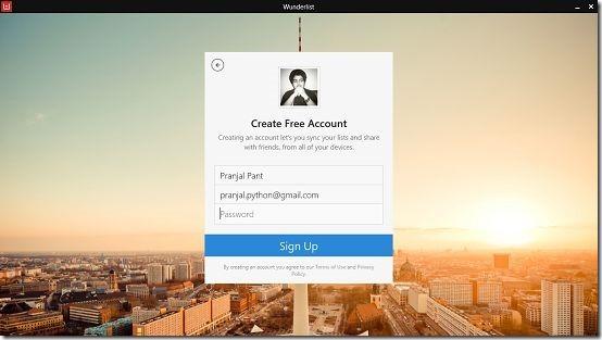 Wunderlist account creation screen