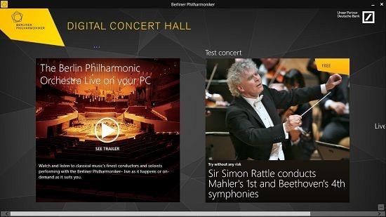 Digital Concert Hall main screen
