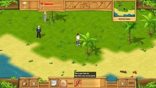 The Island Castaway tasks at screen bottom
