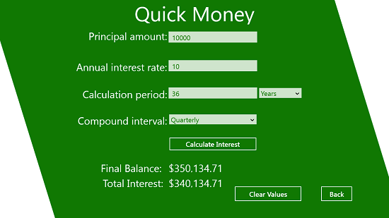 Quick Money Interest Calculator