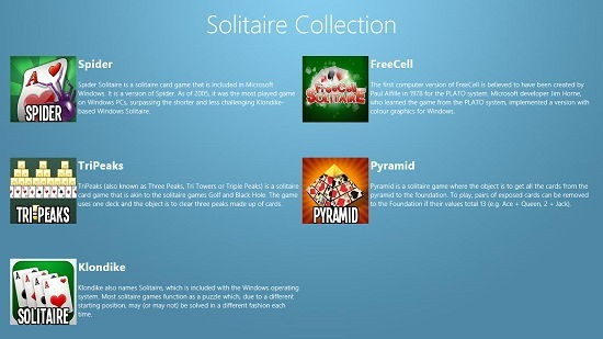 Solitaire Collection main screen