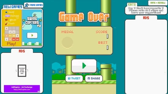 Flappy Bird New Game Over