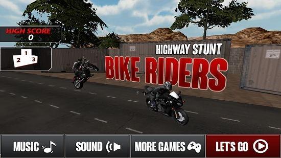 Highway Stunt Bike Riders Pro Main Screen