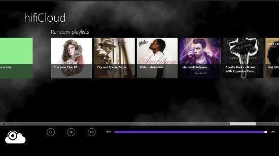 hifiCloud Main Screen