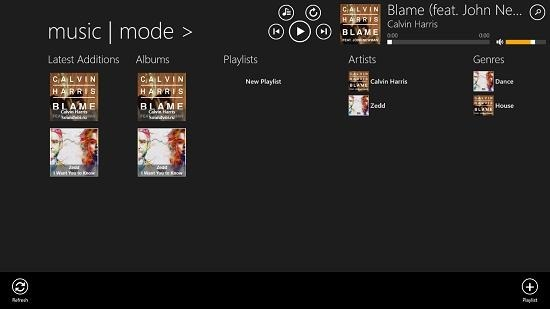 music mode main screen