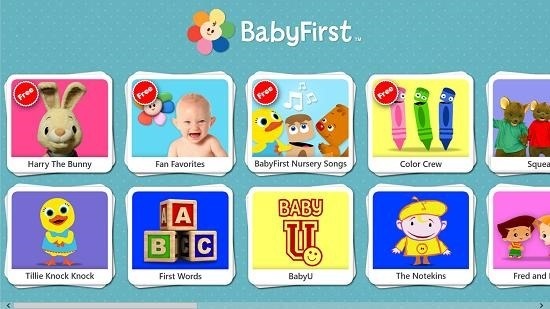 BabyFirst Video Main Screen