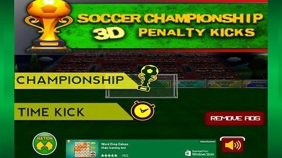 Soccer Championship 3D Main menu