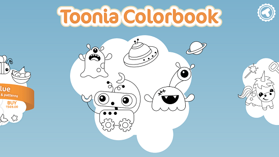 Toonia Colorbook main screen