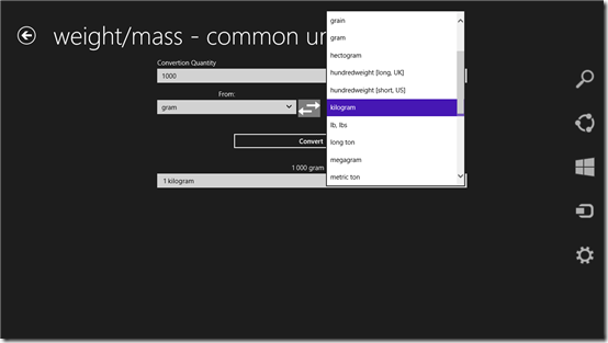 Unit Converter App for Windows 8: UnitsPad