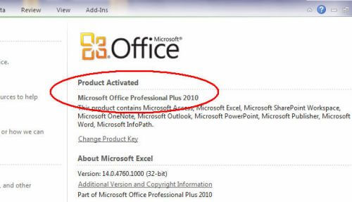 how to activate Microsoft Office 2010 without product key