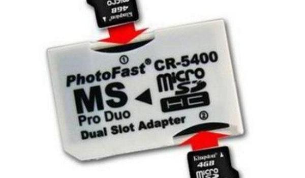 adaptador DUAL para memorias microSD y Sony Stick Pro DUO
