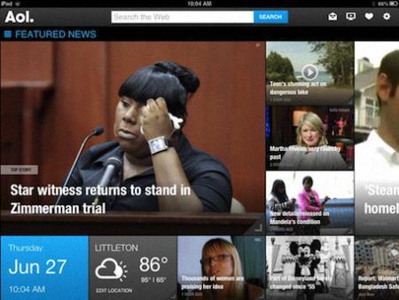 lector de noticias AOL para el iPAD