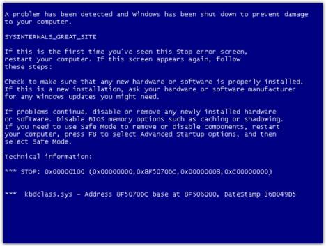 SysInternals BlueScreen