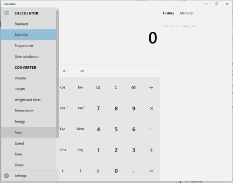 Calculadora en Windows 10