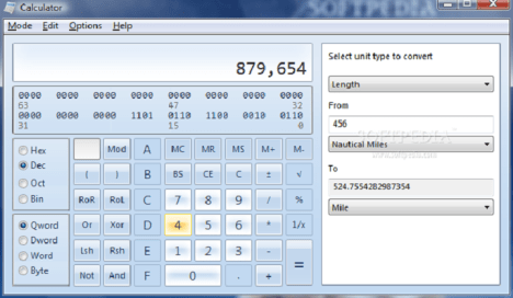 Calculadora en Windows 7