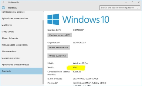 Numero de compilacion de Windows 10