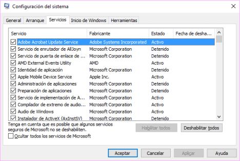 Aplicaciones que se inician con Windows 10