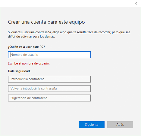 cuenta de usuario en Windows 10