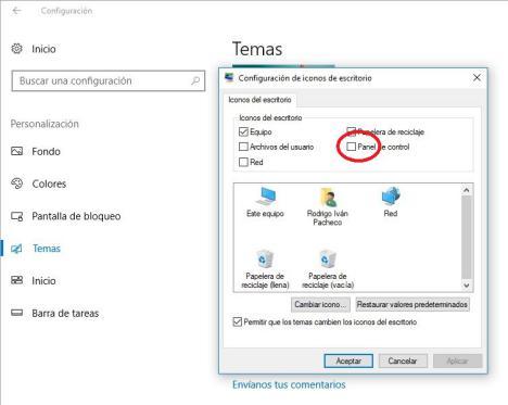 activar panel de control en Windows 10