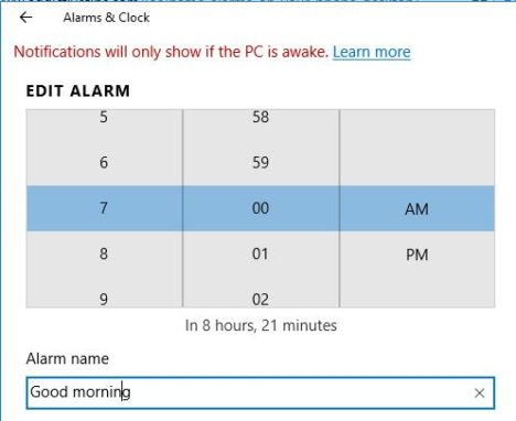 alarmas en Windows 10
