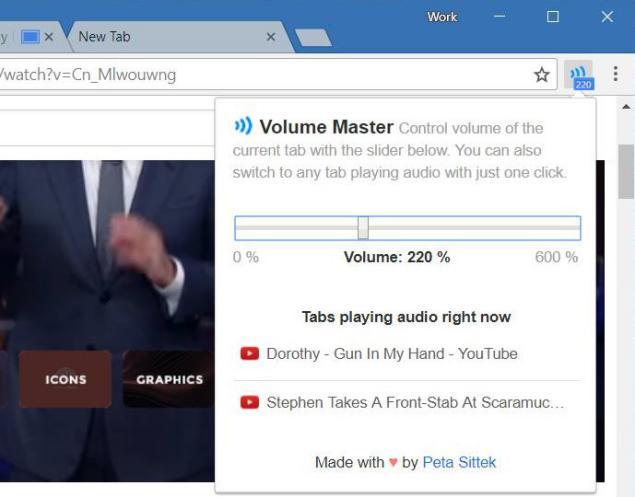 control de volumen en Google Chrome