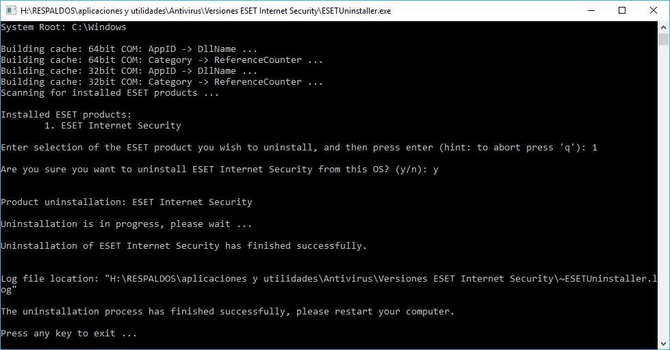 Desinstalar Eset Internet Security